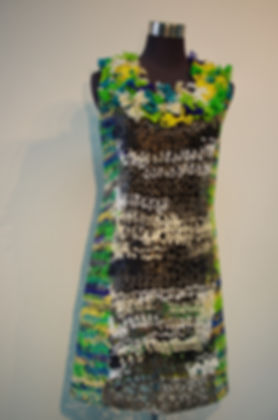 caught dress (2014) by textile artist, Karen Benjamin