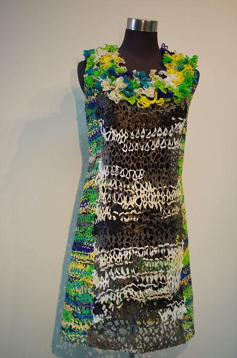 caught dress (2014) by textile artist, Karen Benjamin