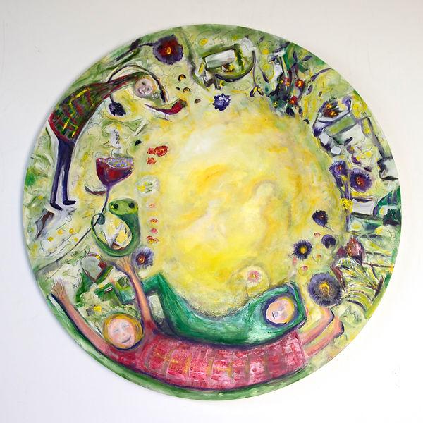 Susannah Paterson, 'In The Garden', oil on round birch panel, 60cm, 2018