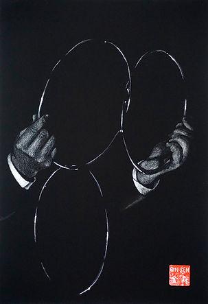 Virginie Senbel-Lynch | The Rings | watercolour pencil on black paper | 27 x 38cm | 2017