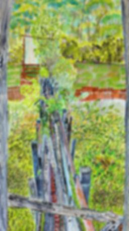 Artist Roger Callen, Sawdust Chute, watercolour, gouache and pen on arches paper