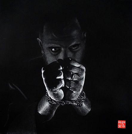 Virginie Senbel-Lynch | The Great Escape | watercolour pencil on black paper | 48 x 48cm | 2017