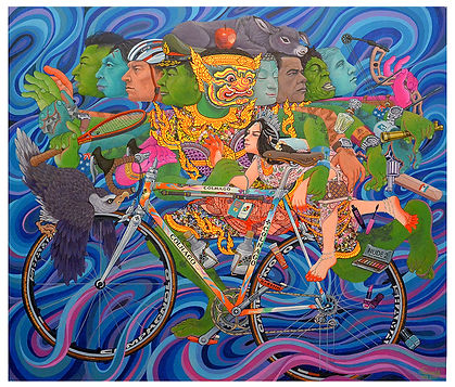 Thirawut Bunyasakseri | Kidnapping of Sita 2016 | Acrylic on canvas | 99 x 85cm | 2016