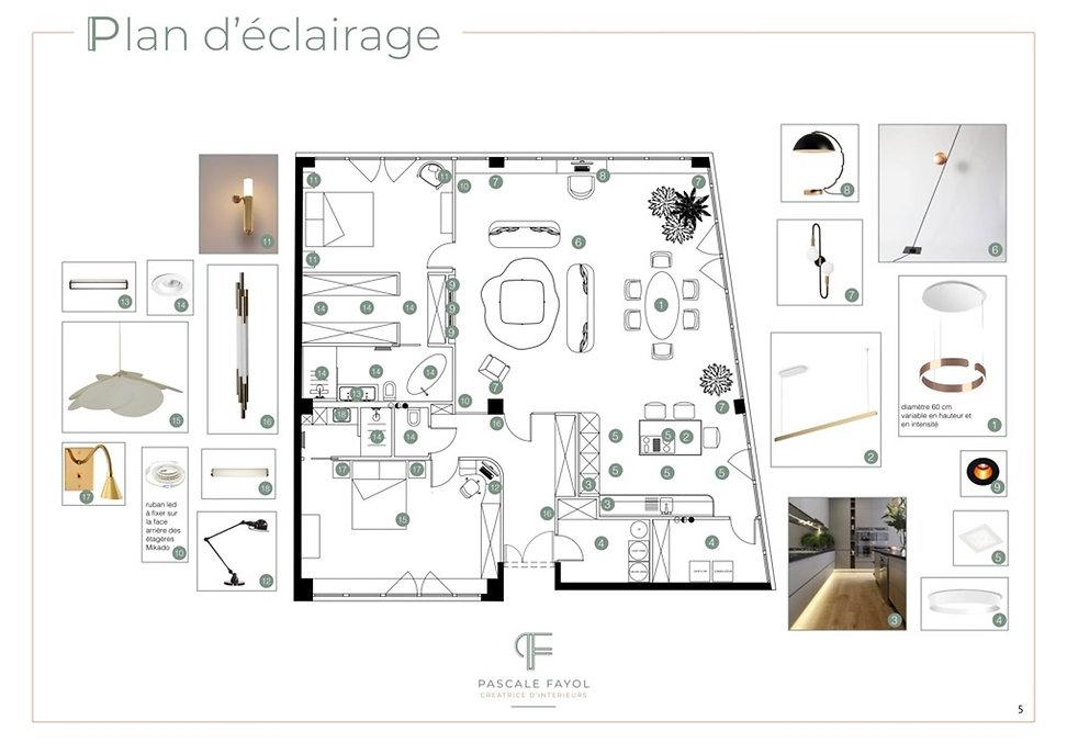 plan d'eclairage : décoration du séjour