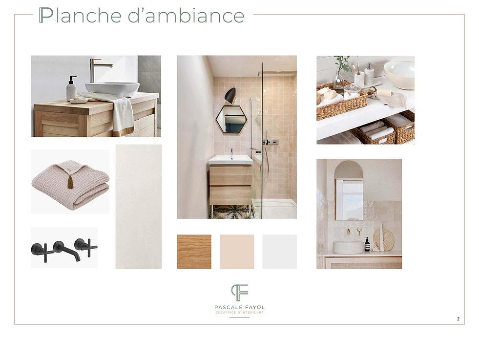 planche d'ambiance pour la déco d'une salle de bains dans une maison à Avignon
