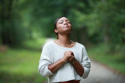 praying to god, posing african, american