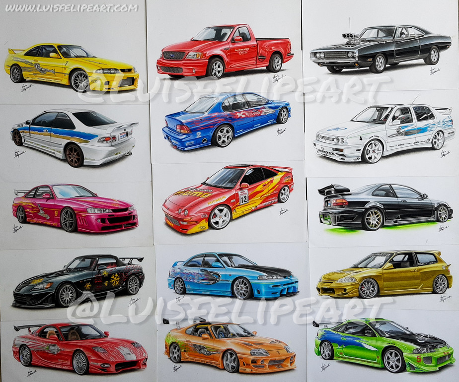 the fast and the furious car drawings collection