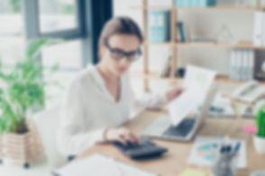 Successful business woman economist in f