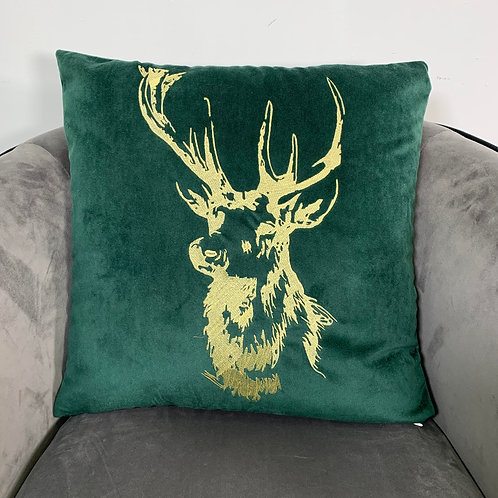Green Velvet Embroidered Stag Cushion Cover