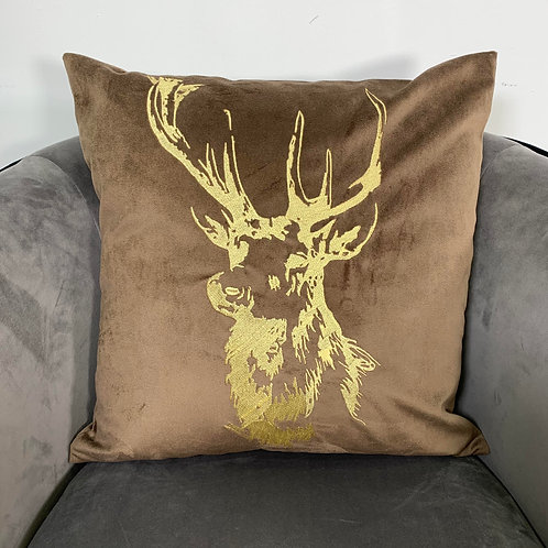 Brown Velvet Stag Embroidered Cushion Cover