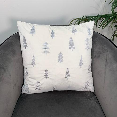 Embroidered White Velvet Cushion Cover