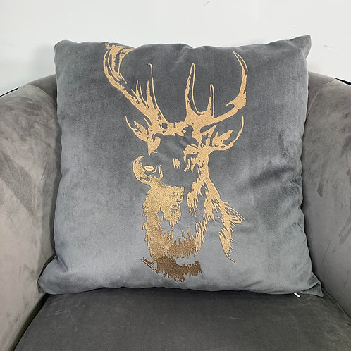 Grey Velvet Embroidered Stag Cushion Cover