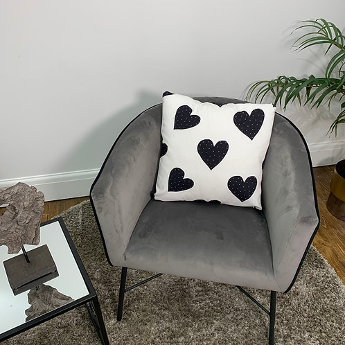 Black and White Heart Cushion Cover