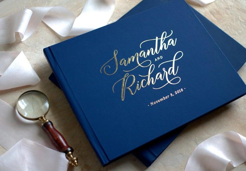 Navy Blue Wedding Guest Book