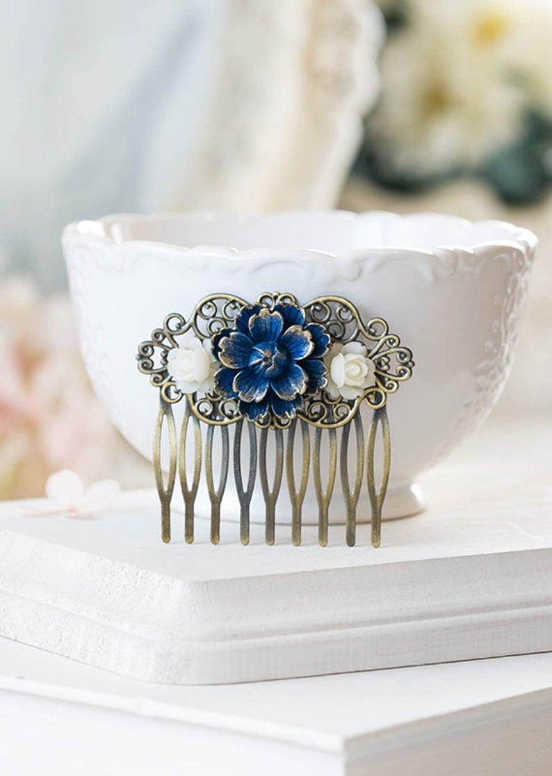 Navy Blue Hair Comb