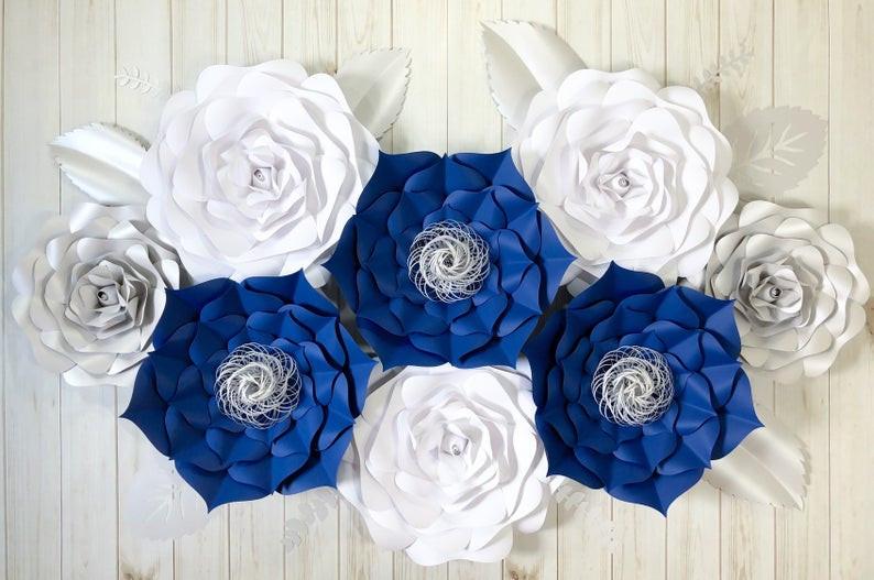 Navy Blue Paper Wedding Flowers