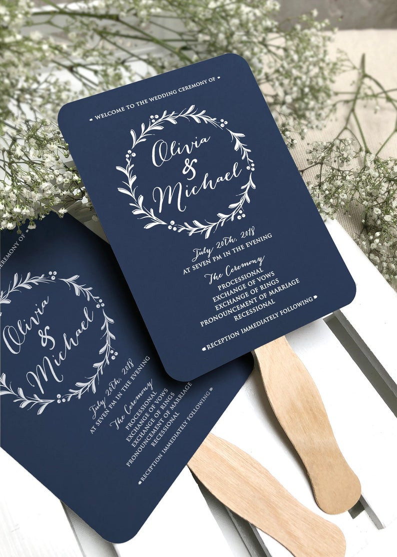 Navy Blue Wedding Program Fans