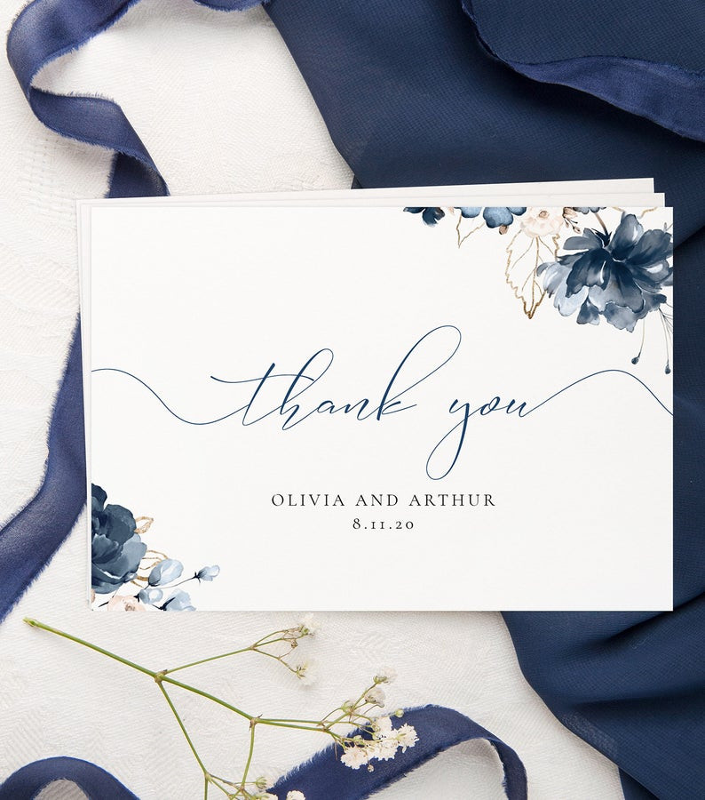 Navy Blue Thank You Cards