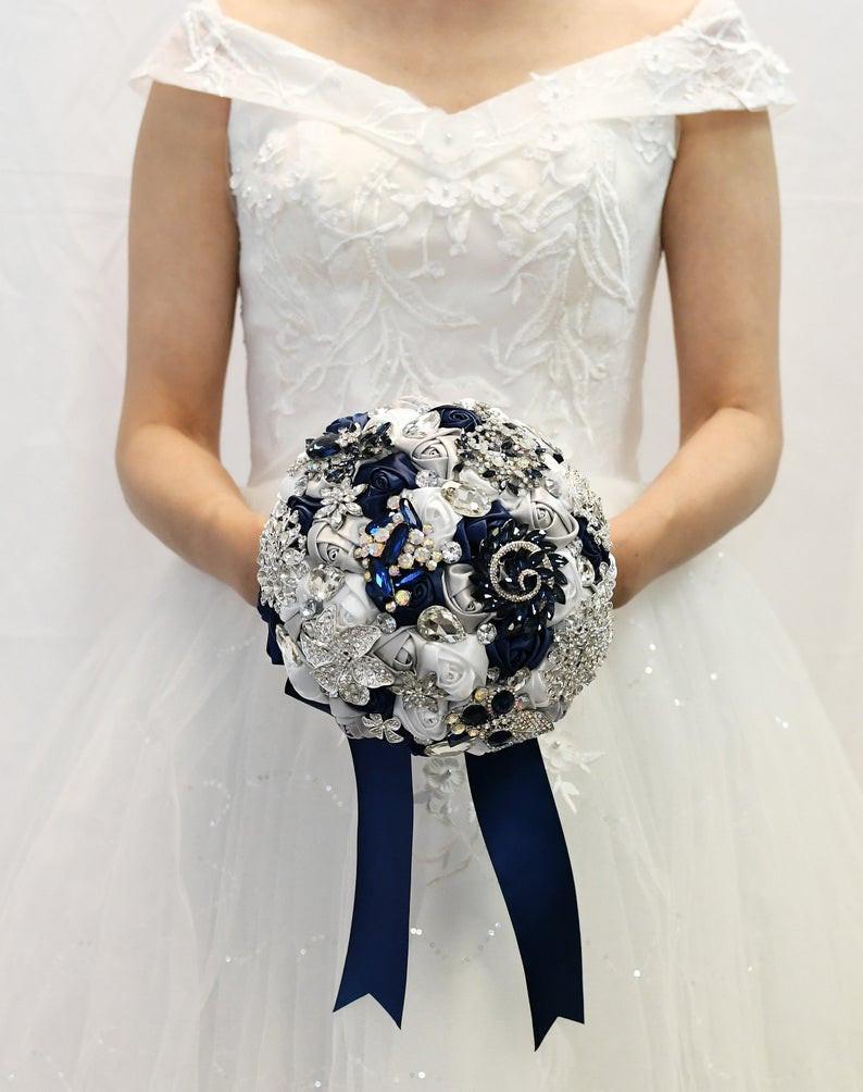 Navy Blue Wedding Bouquet
