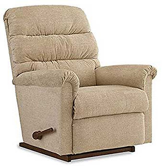 A biege fabric La-Z-Boy recliner