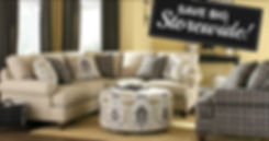 Save big storwide promotion over a room setting displaying a sofa, chair and ottoman.
