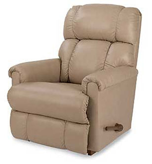 A tan leather La-Z-Boy recliner