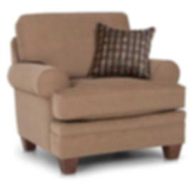 A photograph of a tan fabric Smith Brothers chair with brown and gold pillow.