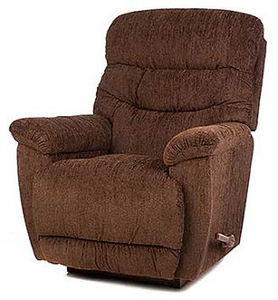 A rust brown fabric La-Z-Boy recliner