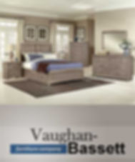 A photo of a Vaughan-Bassett bedroom suite with logo in blue