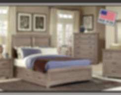 A photo of a washed gray Vaughan Bassett bedroom suite with an American flag made in USA logo