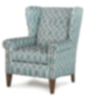 A powder blue chair with geometric pattern by Smith Brothers furniture