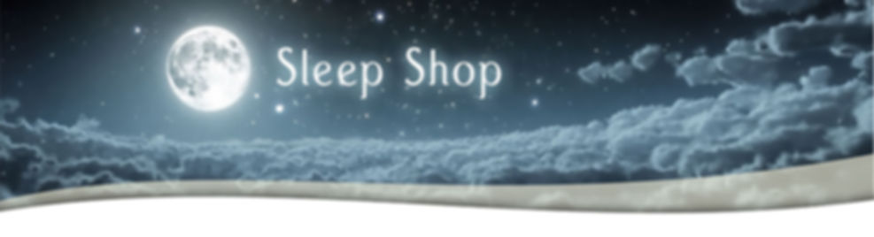 Glowing moon illuminating soft night clouds behind the Bell's of Whitehall Sleep Shop logo.