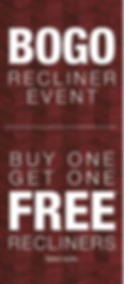 A burgundy striped background with Buy One Get One Free La-Z-Boy recliner text
