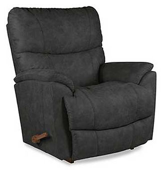 A charcoal gray fabric La-Z-Boy recliner