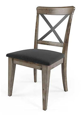 A gray wood finished Canadel furniture side chair with black fabric seat