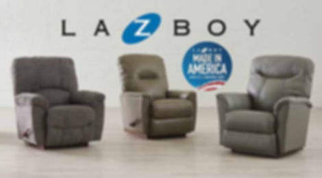 Two leather La-Z-Boy recliners and one fabric La-Z-Boy recliner with La-Z-Boy logo and made in america badge