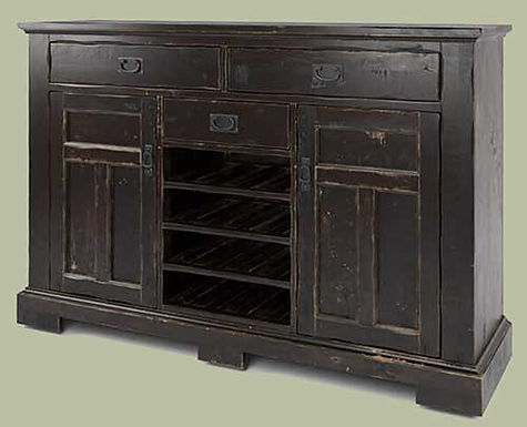 A Canadel furniture buffett in a rustic, distressed dark brown finish