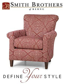A pale red patterned chair by Smith Brothers furniture