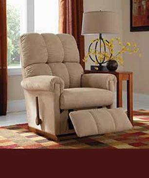 A photo of a tan La-Z-Boy recliner