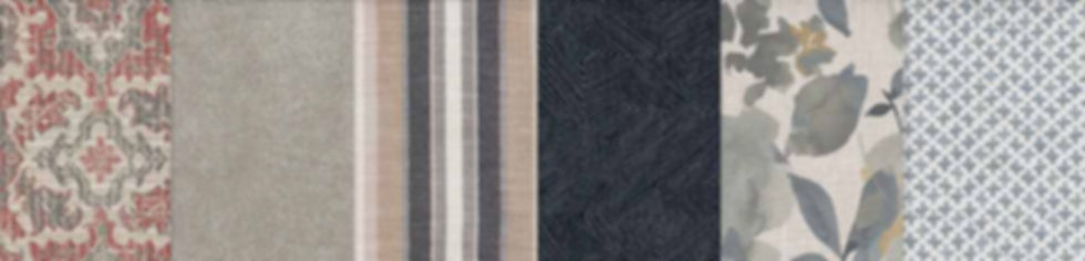 A strip of multiple fabric swatches by Smith Brothers furniture, reds, blues, tans, patterns and stripes