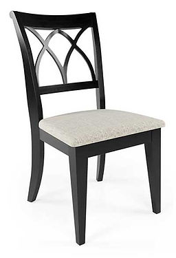A black Canadel furniture side chair with fabric seat