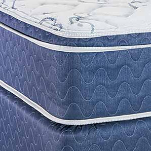 A close framed shot of a mattress and boxspring by Capitol Bedding.