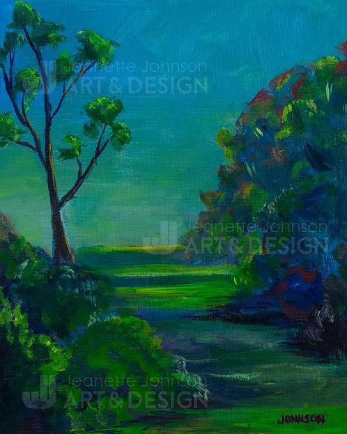 Trees At Twilight - Digital Print on Watercolor or Premium Matte