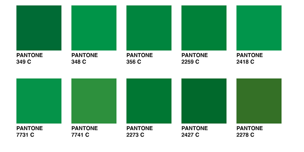 Image showing the variations of green you can choose from Pantone.