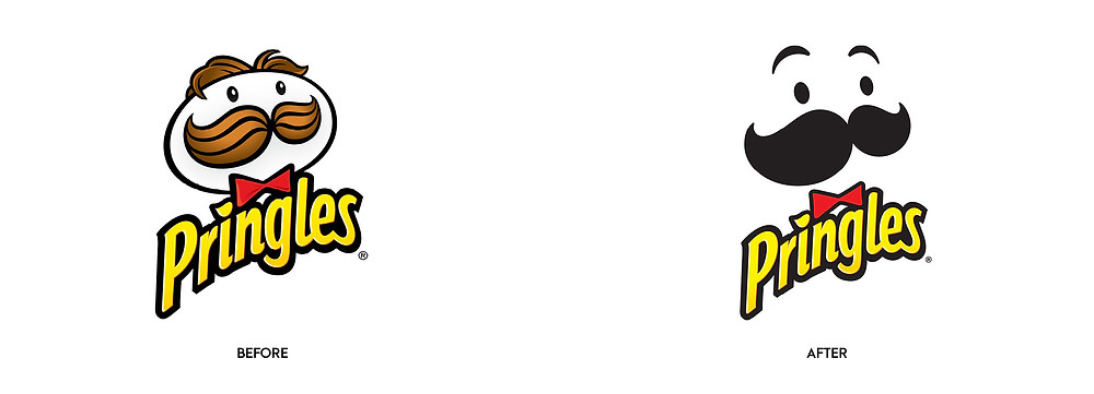 Before and after of Pringles chips logo update.
