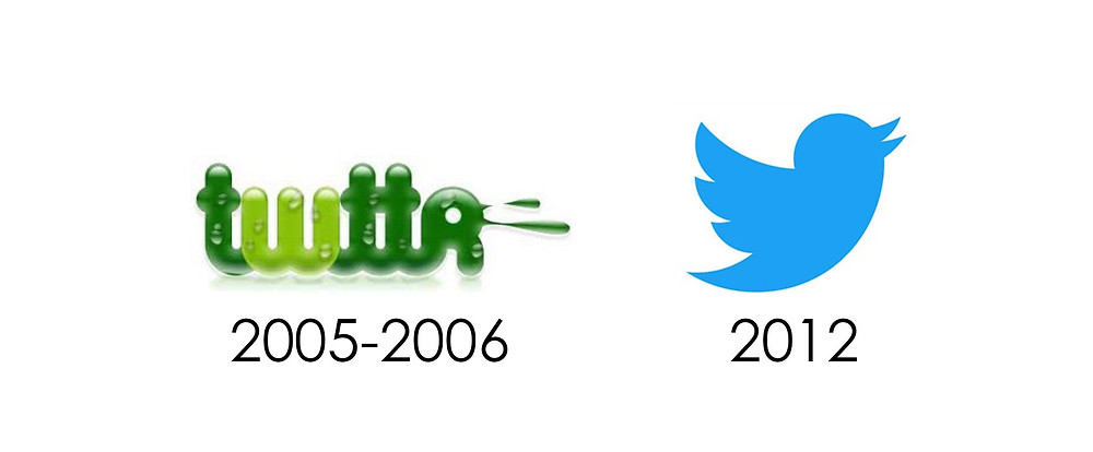 Comparison of the original Twitter logo concept and the actual Twitter icon.