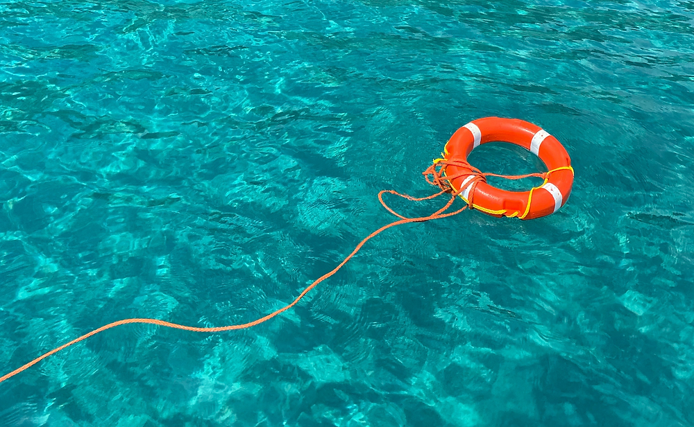 Life preserver in a body of water.
