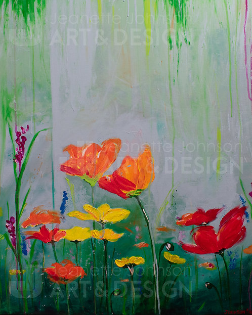 Rain On Poppies - Flat Canvas Reproduction