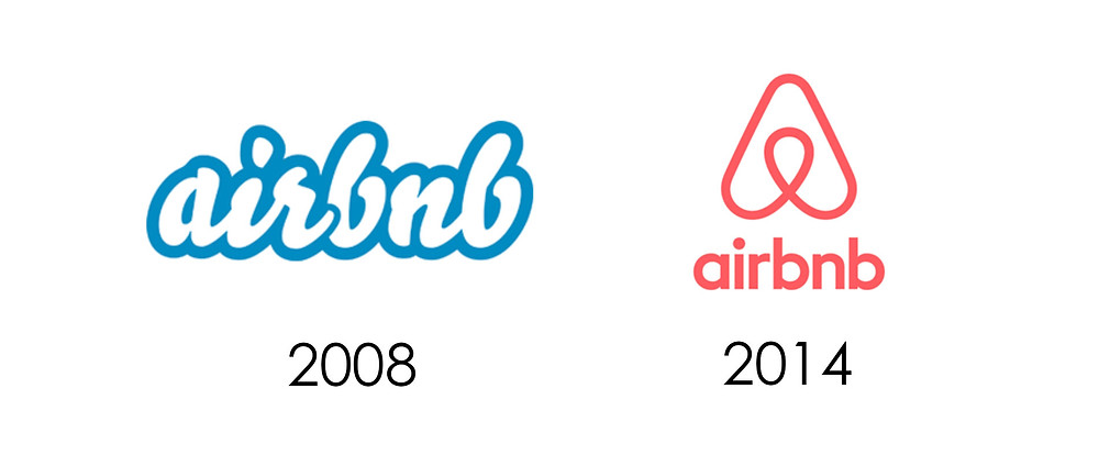 Before and after of AirBnB logo design