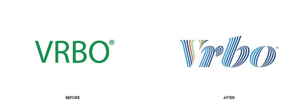 Before and after of Vrbo logo redesign.